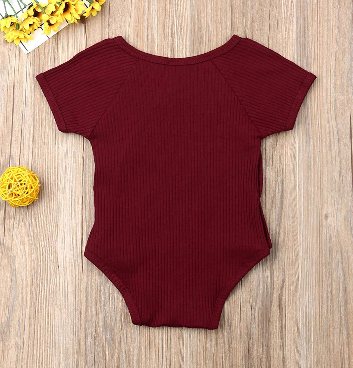 doublebabyjoy Newborn Baby Side-Snap Summer Cotton Romper Kimono Toddler Girl Boy Solid Color Short Sleeve Bodysuit Outfits