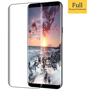 Protector de Pantalla Samsung Galaxy S8 Plus,Vicksongs Galaxy S8 Plus Cristal Templado 3D Full Coverage Transparencia Total Vidrio Templado Screen Protector ...