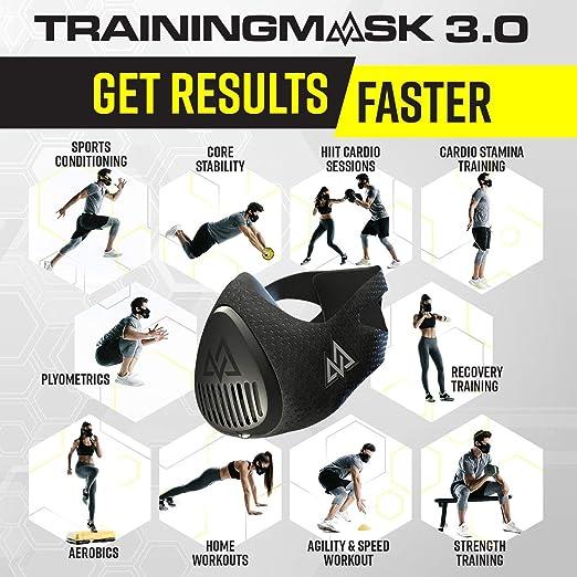 TrainingMask 3.0 - Máscara de entrenamiento para adultos, talla M, 70-120 kg, color negro