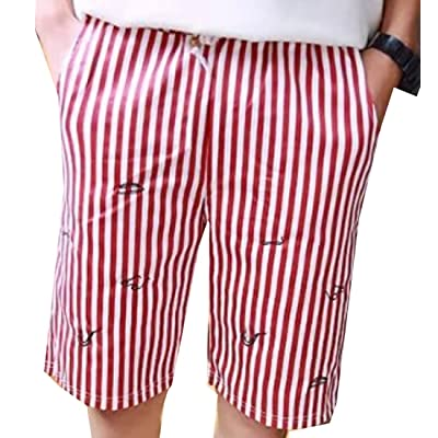 Alion Men's Summer Casual Casual Striped Shorts