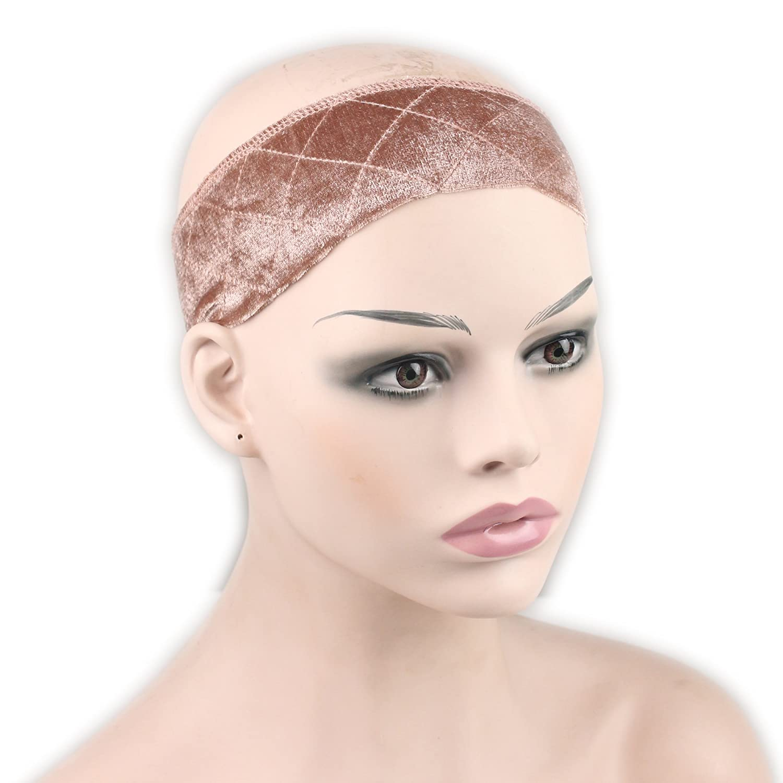 Dreambeauty Wig Grip Flexible Velvet Wig Band Scarf Head Hair Band Adjustable Elastic Comfort Headband Fastern (Tan) Qingdao Feiyang Hair Co. Ltd
