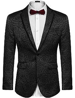 ec177352276a4 COOFANDY Men's Rose Floral Suit Jacket Blazer Weddings Prom Party Dinner  Tuxedo