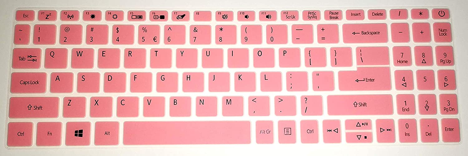 BingoBuy US Layout Keyboard Protector Cover Skin Compatible with Acer Aspire A515-43 A515-44 A315-56 with BingoBuy Card Case (Pink)