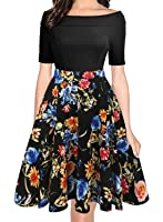 oxiuly Women's Vintage Off Shoulder Pockets Casual Floral A-Line Party Dress OX232