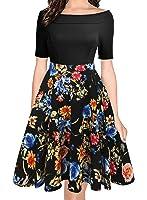 oxiuly Women's Vintage Off Shoulder Pockets...