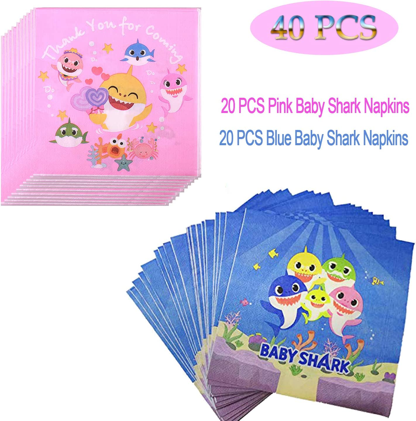 40Pcs Baby Shark Napkins For Baby Shark Theme Party – Girls Birthday,Baby Shower and Gender Reveal – 20 Pcs Pink and 20Pcs Blue Baby Shark Napkins For Best Boys Girls Party Supplies