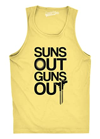 Crazy Dog TShirts - Mens Suns Out Guns Out Tank Funny Workout Tanks  Hilarious Gym Shirt