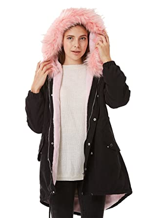 3ef39f613629 Women Pink Faux Fur Hooded Fleece Lined Parka Jacket Zip Up Long Warm  Winter Coat (