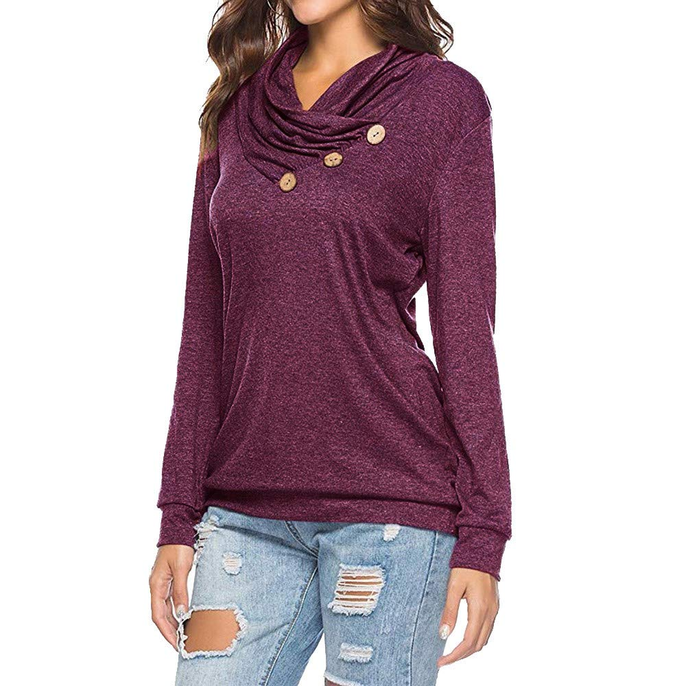 Womens Plus Size Long Sleeve Shirt Casual Solid Cowl Neck Button Loose Tunic Sweatshirt Pullover Tops