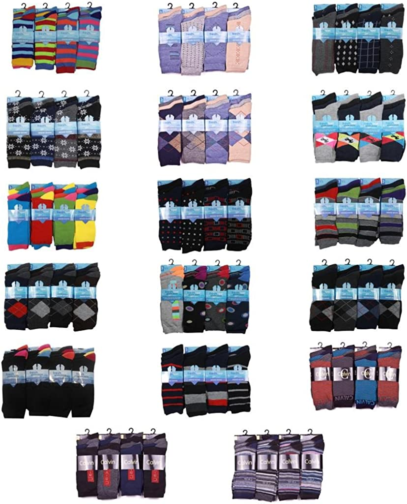 12 Pairs Mens Designer Socks Cotton Rich Lycra Design Socks Size 6-11 Fathers Day Christmas Gift Valentines Day Gift Socks Style 10