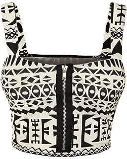 11946a1a5e ZEE FASHION Womens Ladies Front Zip Padded Bralet Boobtube Strap Stretch  Bra Crop Top 8-