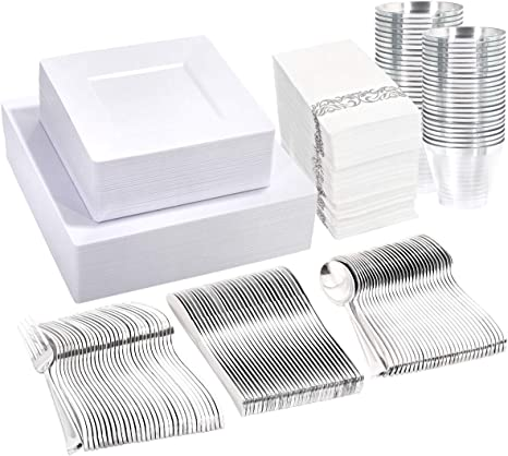 """Liacere 60 Pieces Silver Plastic Plates with 60 Pieces Silver Plastic Forks-10.25inch Disposable Dinner Plates/&7.4/"""" Plastic Forks for Wedding /&Parties"""