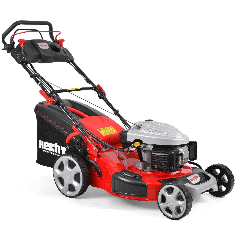 HECHT Benzin-Rasenmäher 5564 SXE Benzin-Mäher mit Elektro-Start Funktion (6 PS Motorleistung, 56 cm Schnittbreite, 7-fache Schnitthöhenverstellung 25-75 mm, 70 L Fangsack)