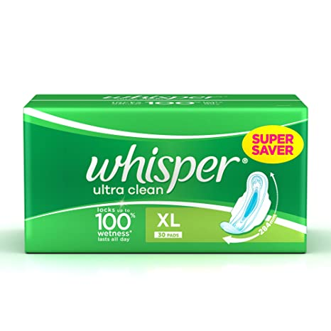 Buy Whisper Ultra Clean Sanitary Pads XL Wings - 30 Piece Pack ...