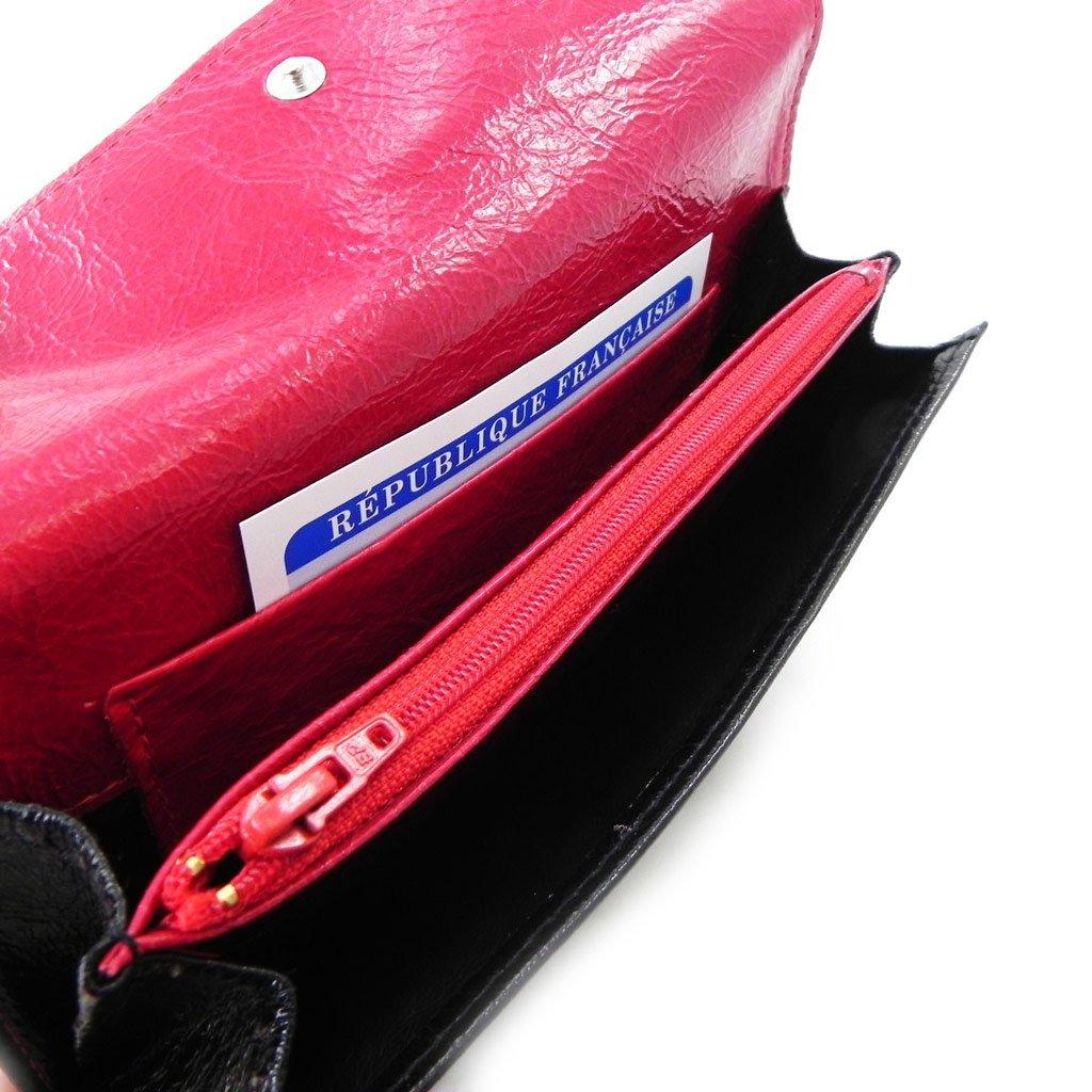 Wallet + checkbook holder leather 'Frandi' black red varnish. by Frandi (Image #9)
