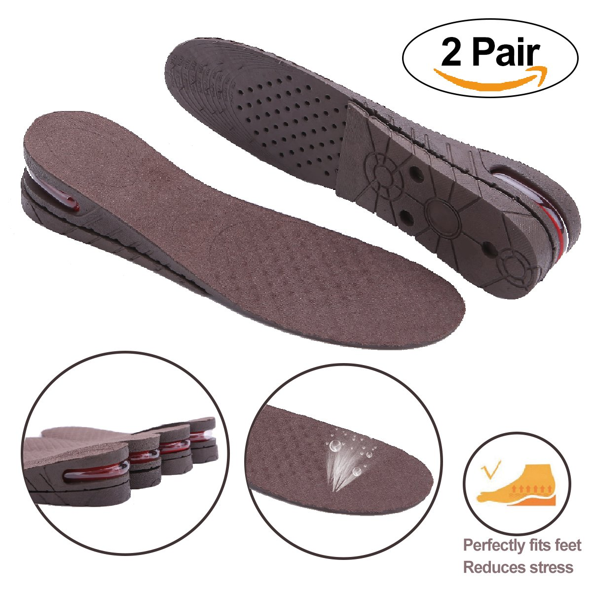 Height Increase Insoles Inserts 2-Layer Adjustable Air Cushion Heels Shoes Pad Elevator Lift Kit  for Women & Man (2 Pair)