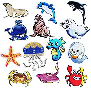 Marine Life Cartoon Iron on Patches, 13pcs Sea Creatures Shark Whale Seahorses Starfish DIY Sew Decoration Appliques Embroidered Patch Iron On Motif for Clothing, Backpack, Caps, Repair The Hole Stick