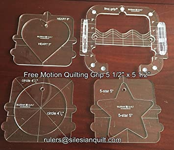 free motion quilting grip 5 set for domestic sewing machine with internal templates heart star and circle amazoncouk kitchen home