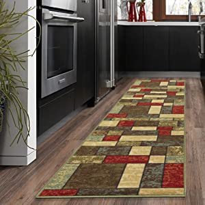 "Ottohome Collection Multi Color Contemporary Boxes Design Runner Rug With Non-Skid (Non-Slip) Rubber Backing (20""X59"")"