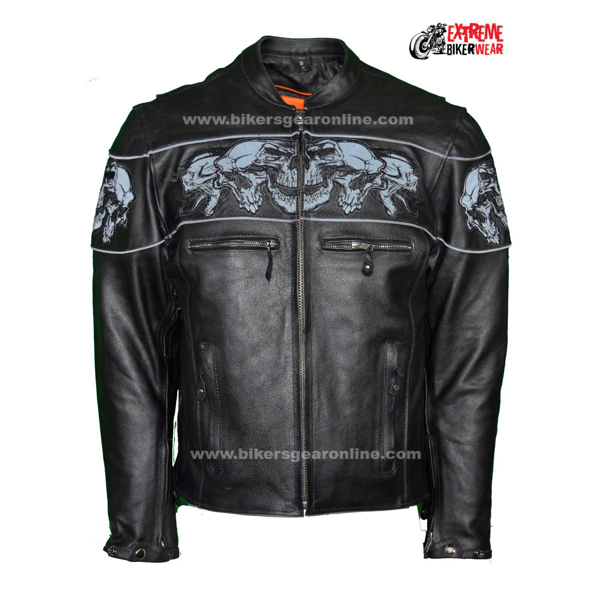 Dream Men's Motorcycle Riding Blk Reflective Skull Leather Jacket Big Sizes Upto 10xl (6XL Regular)