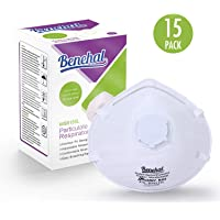 Benehal N95 Disposable Dust Masks with Valve, NIOSH-Certified Particulate Respirator for Construction, Mowing, Home, Emergency Kits (MS6155L, 15-Pack) … (MS6155L)