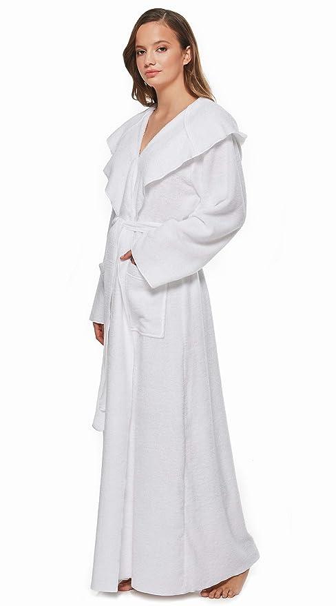 Albornoz de Mujer Extra Largo con Capucha Bata de baño de casa de Ducha de Rizo algodón 100%: Amazon.es: Ropa y accesorios