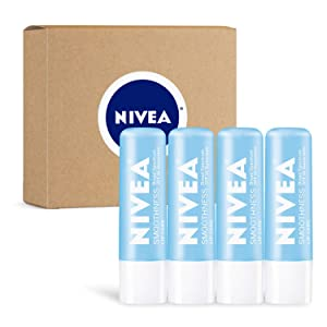NIVEA Smoothness Lip Care - Broad Spectrum SPF 15 Moisturizing Lip Balm- Pack of 4