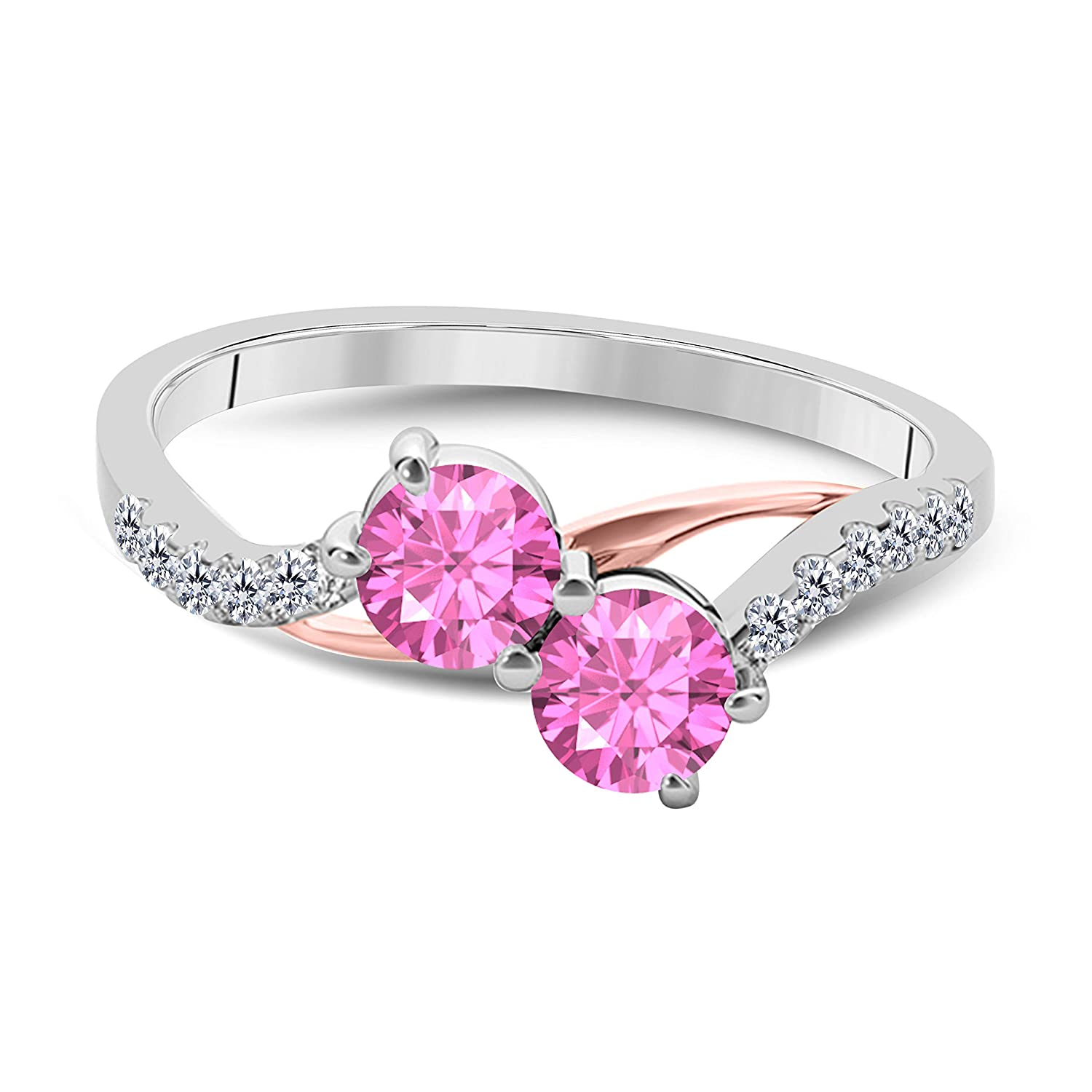 14k Two Tone Gold Over 925 Sterling Silver Two Stone Pink Sapphire and White Cubic Zirconia Engagement Couple Ring 1.00 Ct