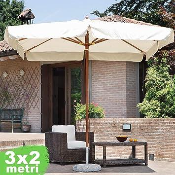 Bakaji - Sombrilla de jardín, poste central de madera, sistema Air ...