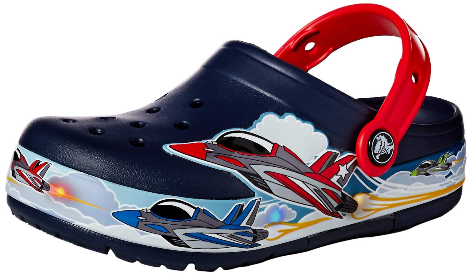 Crocs Kids' Fun Lab Jets Band Light-Up Clog, Navy, 9 M US Toddler