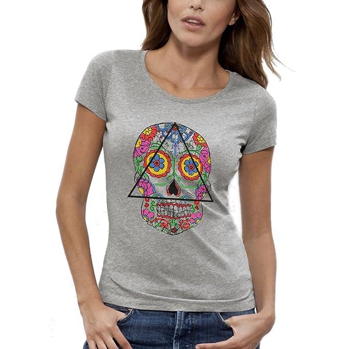 ArteCita ECO Fashion camiseta estampado Bio gris manga corta – Santa Muerte – Mujer de la