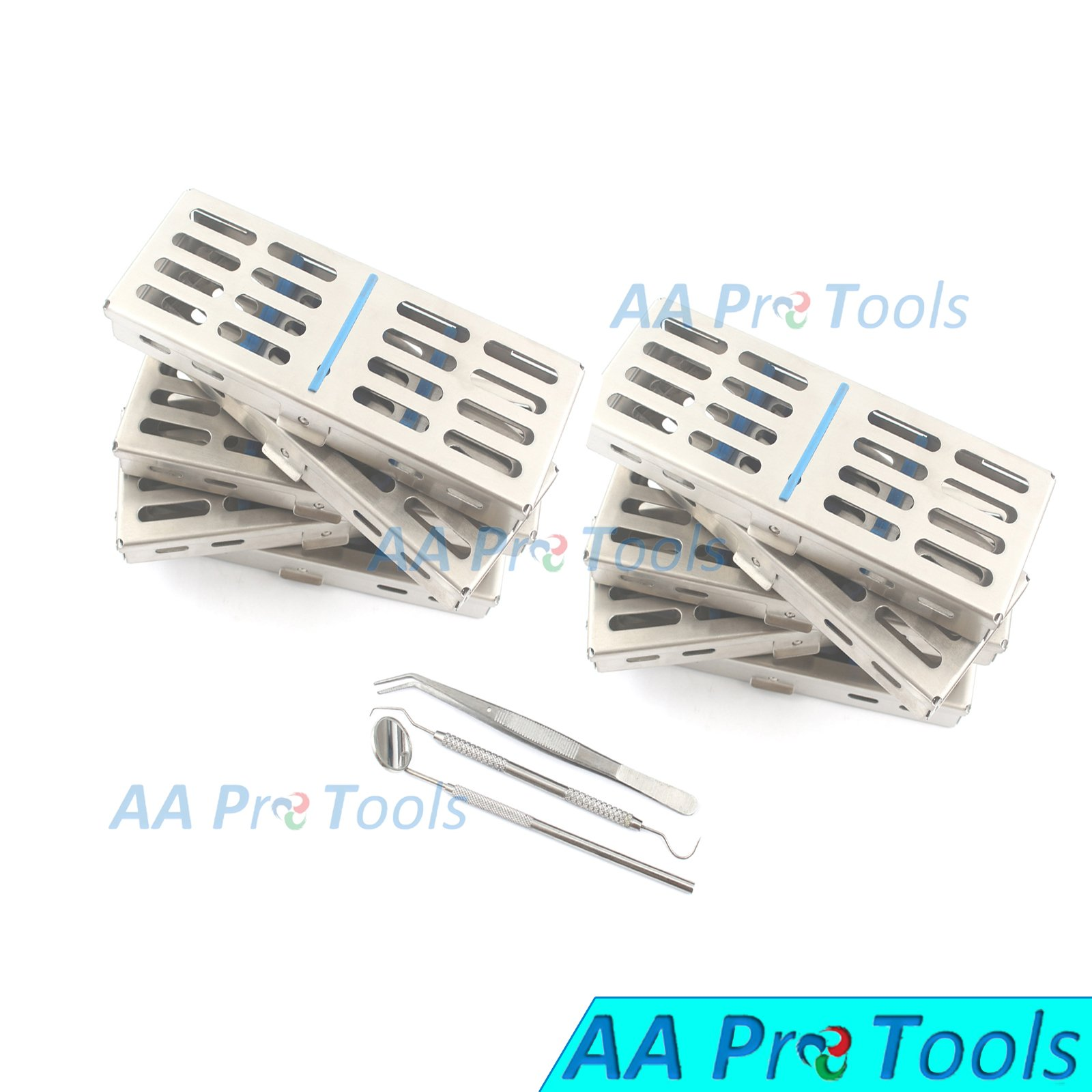 AA PRO NEW SET OF 10 EACH GERMAN GRADE DENTAL AUTOCLAVE STERILIZATION CASSETTE RACK BOX TRAY FOR 5 INSTRUMENT+3 PCS DENTAL SET FREE A+ QUALITY