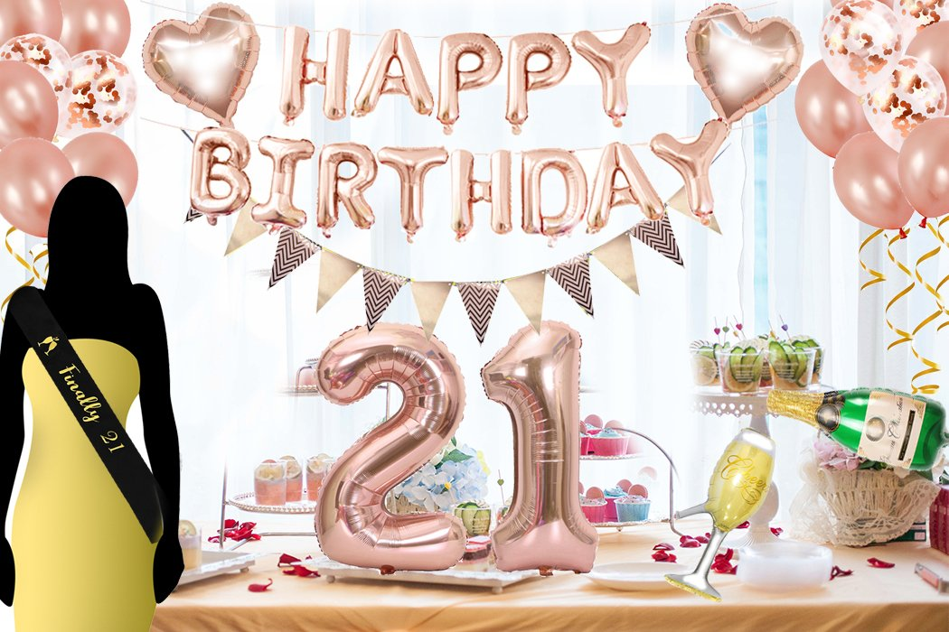 Amazon 21st Birthday Decorations Kit Rose Gold Happy Balloon Banner And Big Number 21 Black Sash Year Old Party