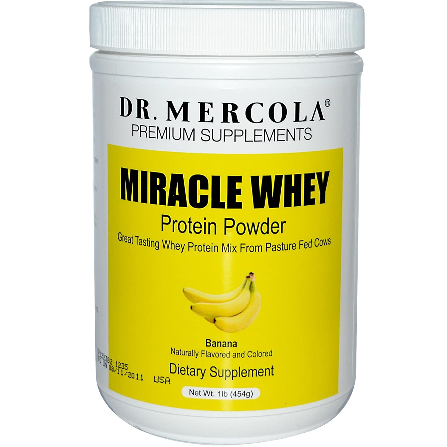 Dr. Mercola Miracle Whey Concentrate Protein Powder – Banana Flavor – Lean Muscle Growth, Immune Support – Colostrum, Sunflower Lecithin, MCT, Beta Glucan, Amino Acids Cysteine, Glycine, Glutamate