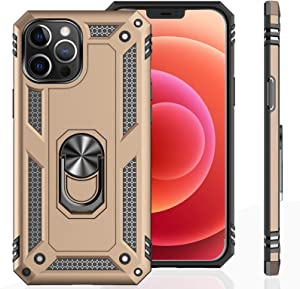 UNKNOK Compatible with iPhone 12 Pro Max 5G Case, [Military Grade ] 15ft Drop Tested Shockproof Protective, Metal Rotating Magnetic Ring Kickstand Cover for iPhone 12 Pro Max 6.7 Inch (Gold)