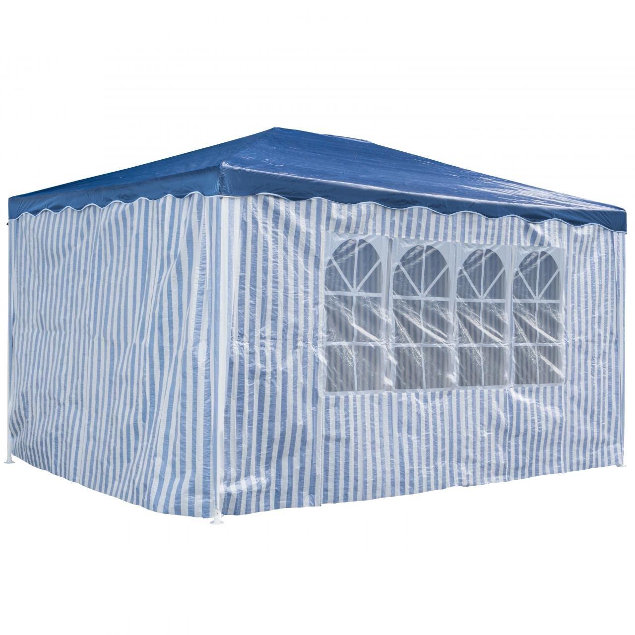 PRIMOPET Partyzelt 3 x 4 m Festzelt Gartenzelt Bierzelt Pavillon Gartenpavillon mit 4 Seitenwänden Blau gestreift