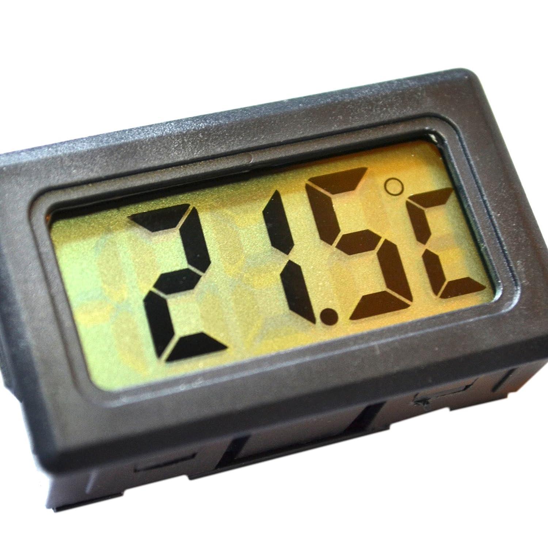 Uket Thermomètre Écran LCD Affichage digital Pour frigo, congélateur, aquarium, vivarium, hydroponie Noir/blanc - 50°C à + 110°C Panel