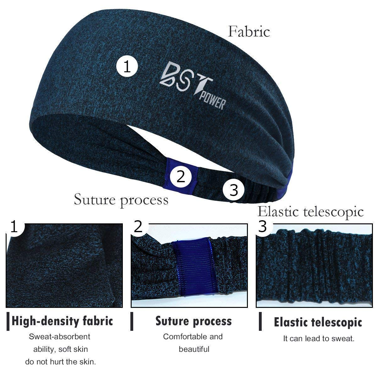 10 Pack BST POWER Sweatbands Sports Headbands Wicking Stretchy Head Wrap Ideal for Yoga//Cycling//Running//Fitness Exercise Head Scarf Pullover for Women and Men