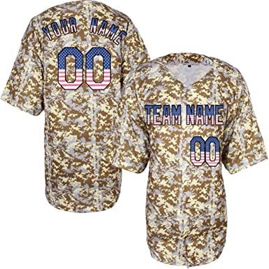 62218f7b1a4 Custom Baseball Jersey for Men Camo Game Embroidered Name &  Numbers,American Flag-Black