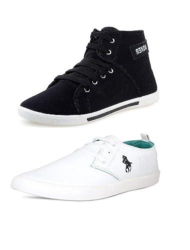 61313eeb0ca BERLOC Trending Black   White Casual Sneakers Combo Pack for Men ...