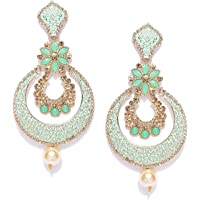 Zaveri Pearls Gold Tone Beautifully Enamelled Dangle & Drop Earring For Women-ZPFK7345