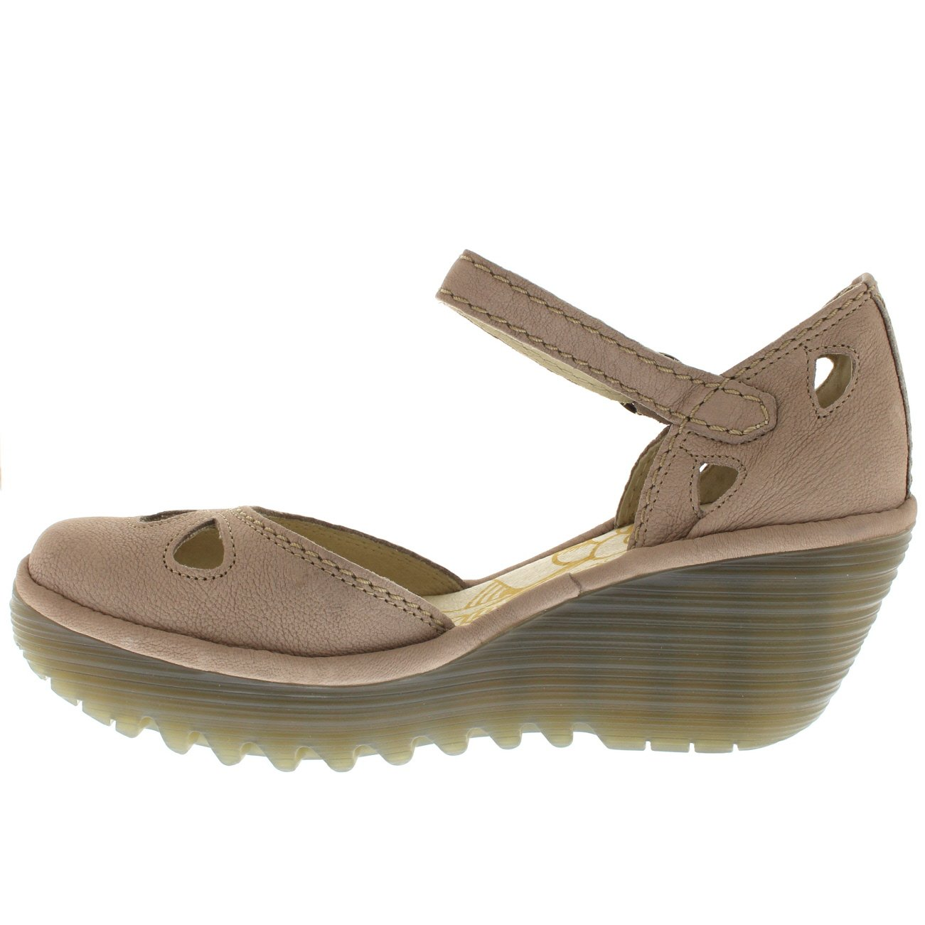 FLY London Womens Yuna Cupido Leather Sandals Summer Shoes Wedge Heel - Concrete - 6 by FLY London (Image #2)
