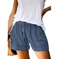 heekpek Pantalones Cortos Verano Mujer Casual Alta Cintura Elástica Cordón Shorts Holgados de Pierna Ancha Shorts Mujer