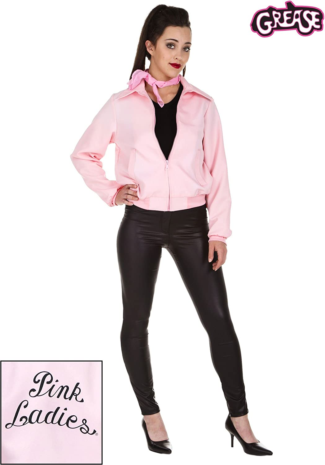 Pink Ladies Jacket From Grease Adult Fancy Dress Costume All Sizes