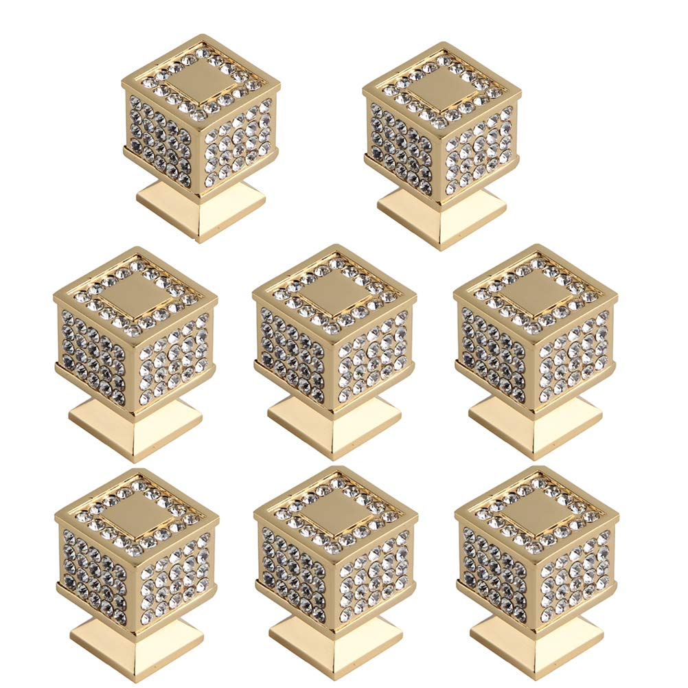 Haijisi 8 Pack Crystal Cabinet Handles Dresser Knobs Diamond Drawer Door Cabinet Pull Handles for Home Décor, Square Gold