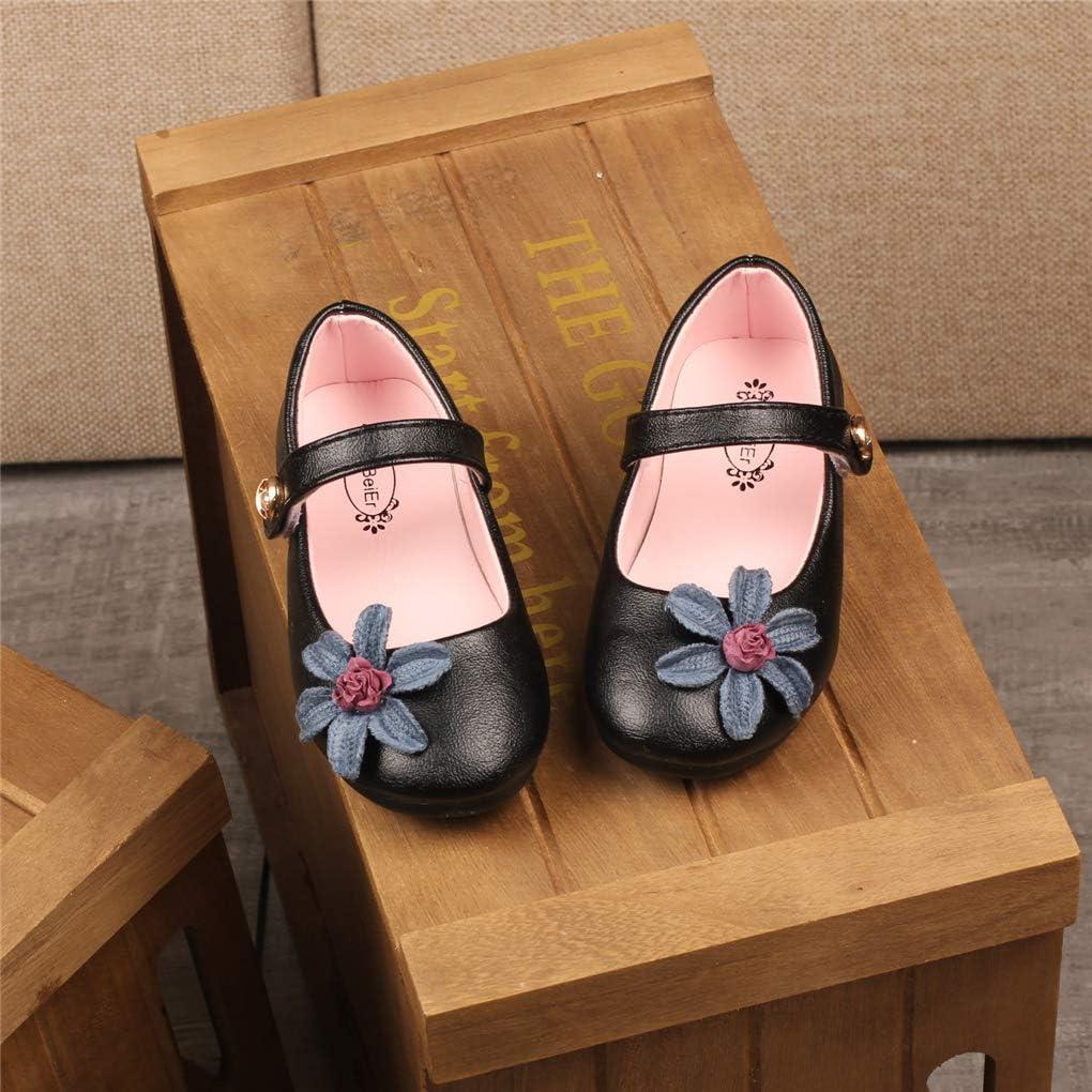 Little Girls Uniform Mary Jane Ballerina Flats with Flowers Princess Dress Shoes
