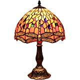 Bieye L30023 18 inch Dragonfly Tiffany Style Stained Glass Table Lamp with Zinc Base
