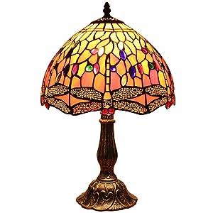 Bieye L30023 12 pouces Libellule Tiffany Style Vitrail Lampe de table avec base en zinc, 18 pouces de hauteur