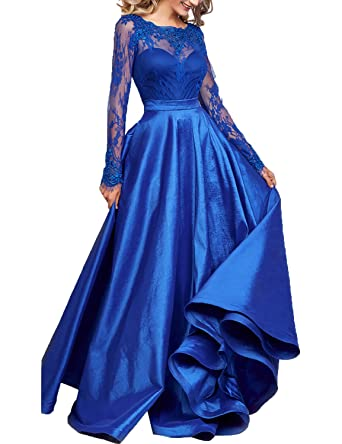 YIRENWANSHA Floor Length White Lace Dresses Prom Gowns For Women Long Sleeves With Wedding Sash Belts