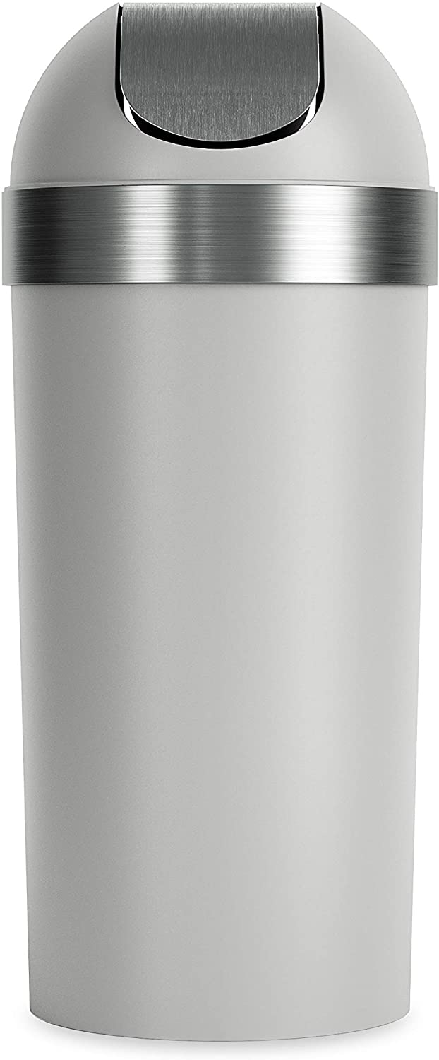 Umbra Venti Swing-Top 16.5-Gallon Kitchen Trash Lid– Large, 35-inch Tall Garbage Can for Indoor, Outdoor or Commercial Use, Grey